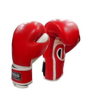 PRO BOXING DELUXE LEATHER BOXING GLOVES COLOR RED/WHITE